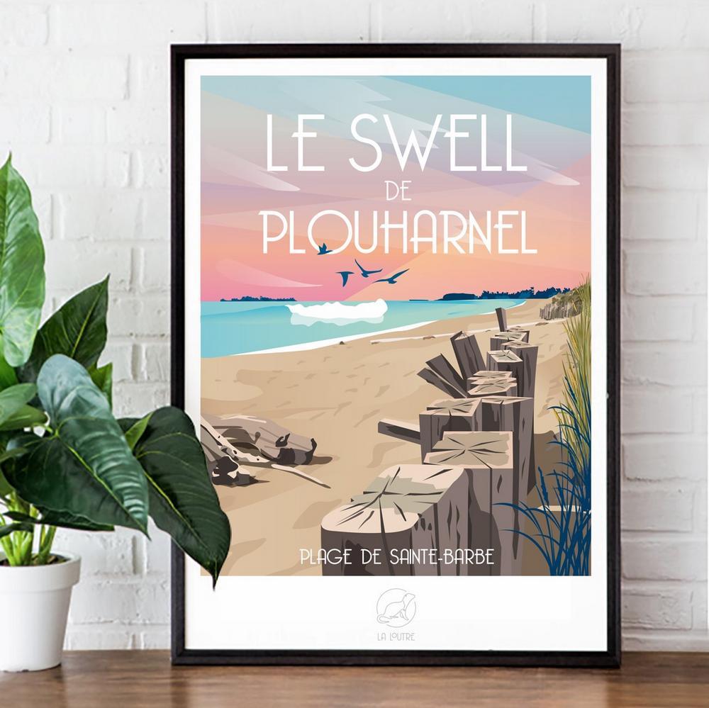 Le swell de Plouharnel - affiche originale par l'agence de communication la loutre