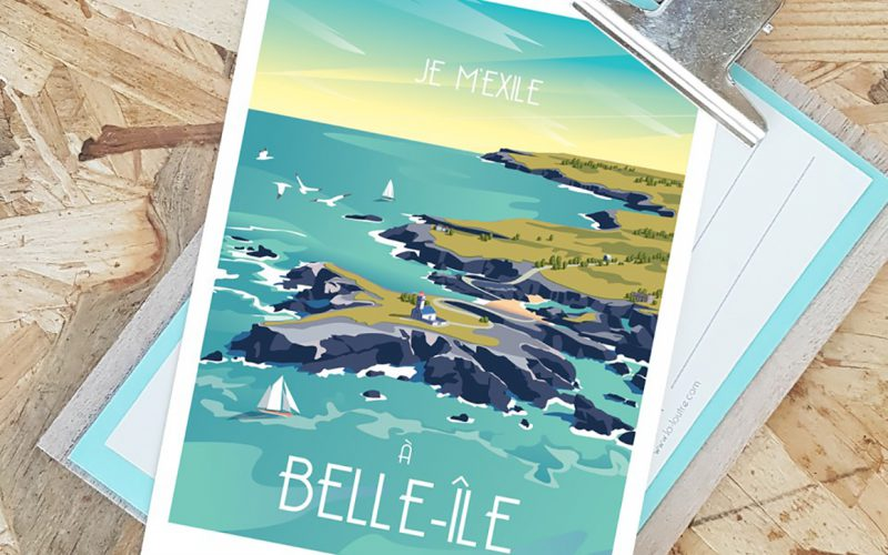 Carte postale originale Belle Ile - agence de communication La Loutre Plouharnel