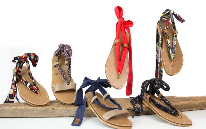 Sandales en cuir aux rubans interchangeables